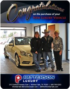 Congratulations to coye and jonnie hamm on their new 2014 for Mercedes benz wichita falls tx