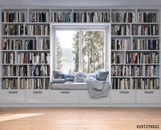 Home Library Rooms, Home Library Design, Home Libraries, Dream Home Design, Home Office Design, My Dream Home, Custom Bookshelves, Bookshelf Wall, Floating Bookshelves