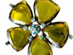 Monet Green Clover Flower Brooch Vintage Collectible Summer Jewelry by JewelryQuestDesign, $19.99