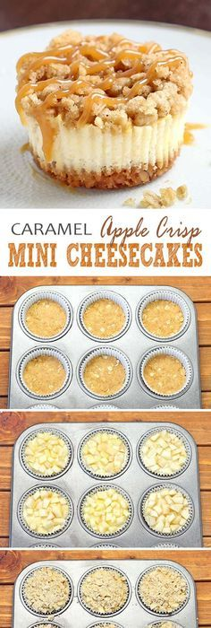 dark blue, autumn desserts All of the sweet and caramely goodness of a traditional apple crisp, baked on graham cracker crust cheesecake packed into perfect portable fall dessert – Caramel Apple Crisp Mini Cheesecakes. Mini Desserts, Fall Desserts, Delicious Desserts, Yummy Food, Thanksgiving Deserts, Apple Desserts, Fall Deserts Recipes, Good Dessert Recipes, Dessert Ideas