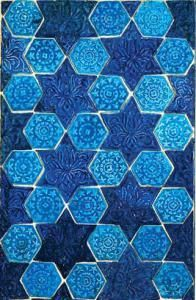 Molded tile panel, 13th–14th century; Ilkhanid period Iran, Nishapur Ceramic with turquoise and cobalt glaze