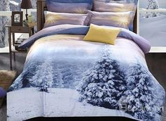White Snow and Shining Sun Print 4-Piece 3D Duvet Cover Sets #bedroom #bedding