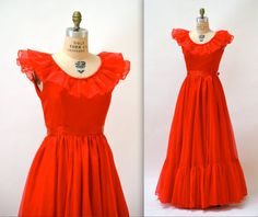 80s Vintage Bridesmaid Dress Red Size Small by Hookedonhoney