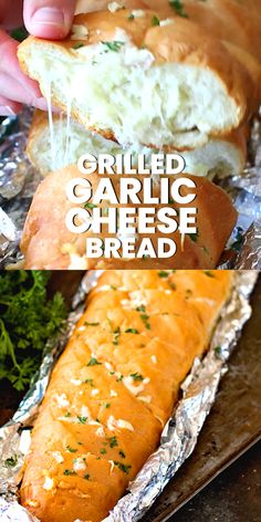Quick and easy cheesy garlic bread in a foil packet! This easy garlic bread recipe can be made in the oven, on the grill or over the campfire. Sliced French Bread stuffed with cheesy, butter and garlic then wrapped in foil. It's the BEST Garlic Bread EVER Garlic Cheese Bread, Cheesy Garlic Bread, Stuffed Garlic Bread Recipe, French Garlic Bread, Stuffed Bread Recipes, Cheesy Bread Recipe, Lasagna Recipes, Cheesy Recipes, Garlic Recipes
