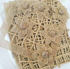 This Pin was discovered by hal Diy Ribbon Flowers, Burlap Flowers, Ribbon Work, Burlap Crafts, Ribbon Crafts, Fabric Crafts, Hand Embroidery Patterns, Crochet Patterns, Romanian Lace
