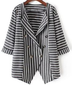 Sometimes your plans don't work out because god has better ones, sometimes you keeping looking for new coat because you haven't caught this one. It features stripe, 3/4 length sleeves, lapel, slanting button, and contrast color,  combining sweetness and OL; get more at Cupshe.com!