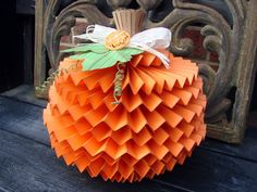 The Kraft Journal: Watch us Wednesday with Audrey Pettit: Fall Decor Tutorial, Lavishly Layered Pumpkin use the cricut rosettes cart for this idea makes a dang cute pumpkin----great ideas for centerpiece!!!