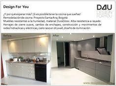 Renew kitchen. New gray tile floor. Lighting design at drywall roof. https://facebook.com/DesignForYouColombia