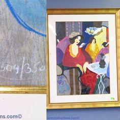 "Tarkay limited edition print number 304/350; gold frame measures 53.5 x 43"". Bids close Thurs, 10 Nov from 11am ET. http://bid.cannonsauctions.com/cgi-bin/mnlist.cgi?redbird80/303"