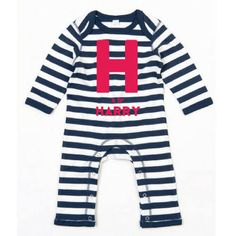 Grab this personalised, navy & white romper for your baby and they will literally be shouting Kapow, Ive arrived! to the world. Let your baby make a statement by showing off this cute, yellow BANG! motif with your babys name bursting out of the centre.  These baby rompers are made from super-soft cotton, with bright red, tactile fuzzy flock print and come customised with Babys name. They would make a great gift for a new addition and are machine washable at 40 degrees.  Baby romper design...