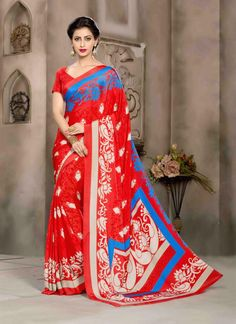 Engrossing Crepe Silk Red Print Work Casual Saree