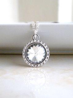 Swarovski Crystal Necklace Rivoli Pendant Sterling by SomsStudio, $16.00