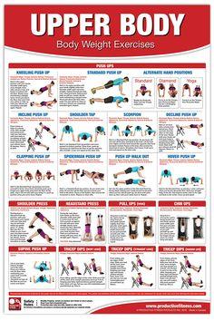 Bodyweight Training Poster/Chart - Upper Body: Chest Training - No Equipment Workout - Body Weight Exercises - Shoulder Training Exercises - No . Workout - Triceps Workout - Back Workout Upper Body Workout Routine, Body Workout At Home, Week Workout, Upper Body Stretches, Back Exercises, Training Exercises, Pilates, Back And Shoulder Workout, Upper Body Circuit