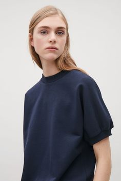 COS image 8 of Rib-detailed short-sleeve top in Navy