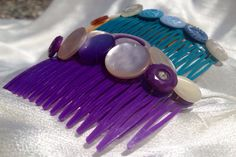 Vintage Button Bright Hair Combs in Red, Yellow, Teal, and Purple on Etsy, $3.00