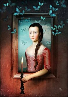 A Light in the Dark Art Print by Christian Schloe - X-Small Surrealism Painting, Pop Surrealism, Illustrator, Images Vintage, Magic Realism, Magritte, Butterfly Art, Butterflies, Arte Pop