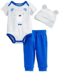 First Impressions Baby Boys' 3-Piece Bear Bodysuit, Pants & Hat Set, Only at Macy's