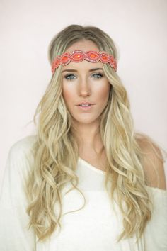 Bohemian Headband, Coral Beaded, Boho Hair Band, Anti-Slip, Women's Head Bands, Cute Hair Accessories (HB-173)