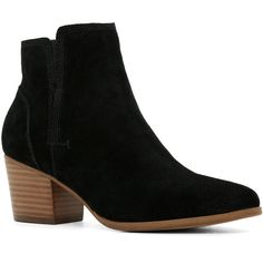 ALDO Lillianne ($90) ❤ liked on Polyvore featuring shoes, boots, ankle booties, ankle boots, black suede, black suede booties, black ankle boots, black bootie, short black boots and black ankle booties