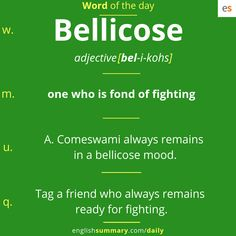 bellicose meaning in english - We publish good gifts idea Advanced English Vocabulary, English Vocabulary Words, English Phrases, Grammar And Vocabulary, English Idioms, English Writing, English Lessons, Interesting English Words, Unusual Words