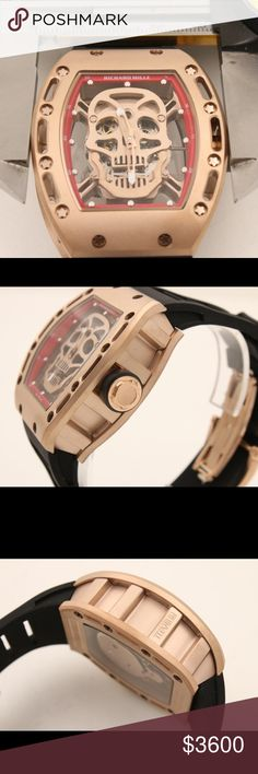 RICHARD MILLE Automatic Men Watch RICHARD MILLE Automatic Men Watch with titanium gold case and rubber band, skull design without box Richard Mille Accessories Watches
