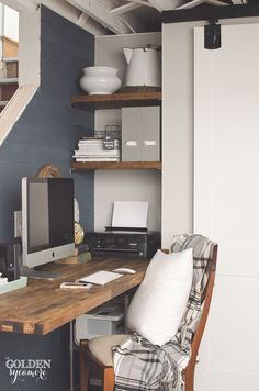 Rustic office nook progress. The addition of the butcher block desk and shelves really adds beautiful, rustic texture.
