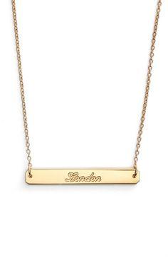Women's Coordinates Collection 'Compass - Legend' City Engraved Pendant Necklace - Gold- London
