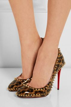 Heel measures approximately 100mm/ 4 inches Leopard-print patent-leather Slip on Made in Italy