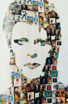 David Bowie, portrait, collage art, illustration.