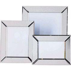 Set of 3 Bevelled Edge Mirrored Glass Photo Frames.