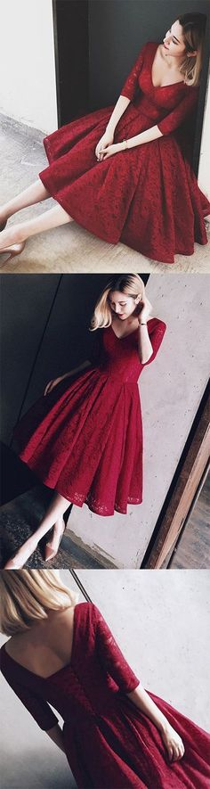 burgundy homecoming dress,knee length homecoming dress,lace homecoming dress,half sleeves wine red homecoming dress