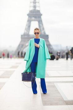 Natalya - elettric blue - mint - green coat - steetstyle