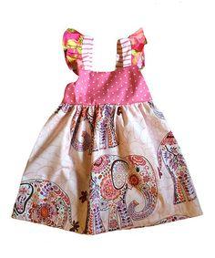 Look what I found on #zulily! Pink & White Batik Elephant Dress - Infant, Toddler & Girls #zulilyfinds