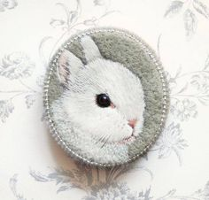 Little bunny . brooch . handmade . felt . needle felted . hand embroidered . animal, designed and sold by cOnieco on Etsy. https://www.etsy.com/uk/transaction/142953740?ref=shop_review