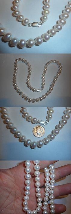 Necklaces and Pendants 165042: Cultured Pearl 20 Necklace Aa+ White 7-9Mm Big Ster Clasp Knotted Silk Vintage -> BUY IT NOW ONLY: $49.99 on eBay!