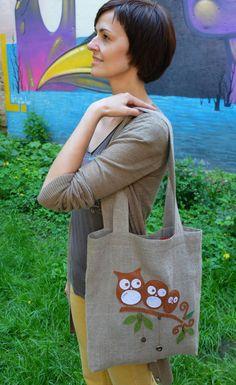 Owl tote bag Linen Tote bag Bird bag Boho bag by IrisArtTextile