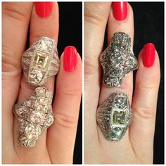 The same two diamond rings in different lighting. Can you see why I say lighting is so important? These two beauties are from Lang Antiques.
