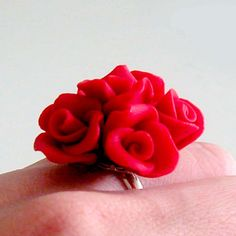 Red Rose Ring - Polymer Clay