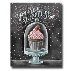 Cupcake Art Chalkboard Art Cupcake Print by TheWhiteLime on Etsy