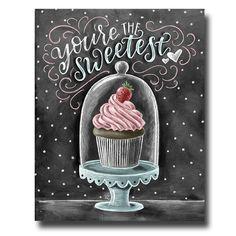 Cupcake Art Chalkboard Art Cupcake Print by TheWhiteLime on Etsy