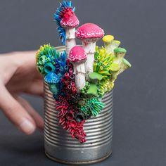 Taking Sides, Growth on Tin Can Sculpture, 2018, Stephanie Kilgast