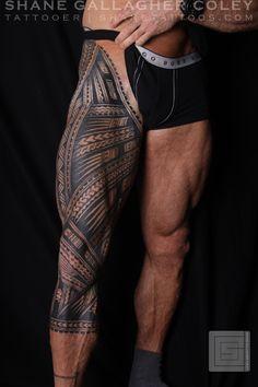 SHANE TATTOOS: Polynesian Samoan Inspired Leg Sleeve Tattoo, Tatau