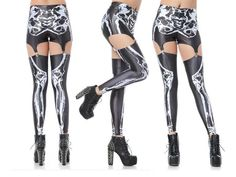 Skeleton Suspender Leggings