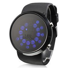 EUR € 6.43 - Rall Ball Muster blaue LED-Armbanduhr, alle Artikel Versandkostenfrei!