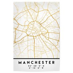 An elegant city street map of Manchester, United Kingdom in gold, with the exact coordinates of the city, make up this amazing art piece. A great gift for anybody that has love for this city. You can never go wrong with gold. I love my city.