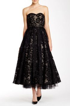 ML Monique Lhuillier Strapless Embroidered Organza Evening Dress Sponsored by Nordstrom Rack.