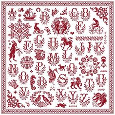 Red cross stitch Sajou Sampler from Clorami Designs. www.clorami-designs.be