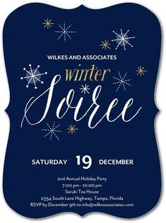 Winter Twinkles - Corporate Holiday Party Invitations in Baltic or Pomegranate   Eleanor