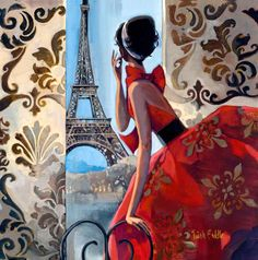 Eiffel Tower Red Dress Giclée Print on Canvas