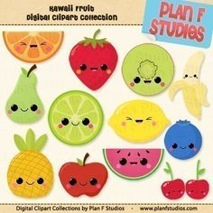 Cute Kawaii Fruits Clip Art Collection (For Personal Use). $4.50, via Etsy.